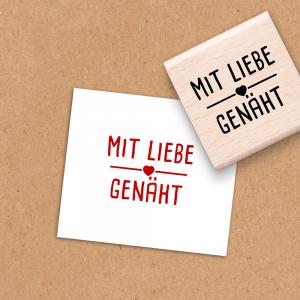 Holzstempel Mit Liebe genäht - 4x4 cm