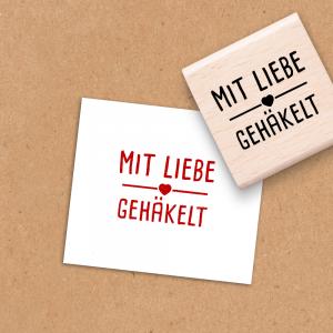 Holzstempel Mit Liebe gehäkelt - 4x4 cm