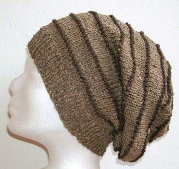 Handgestrickte Mütze - Beanie, in braun/sand mit 30% Seide