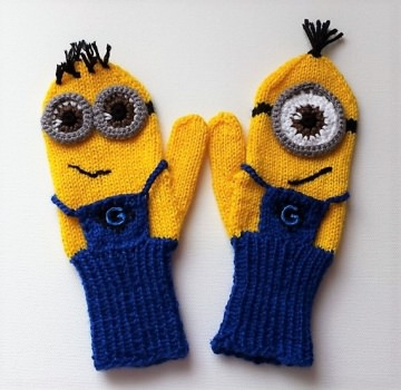 Fäustlinge, Handschuhe Minions für Erwachsene Größe 6-8