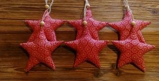 Verkaufe sechs mit Liebe genähte Sterne,Stoffsterne, Weihnachten,Stoffanhänger Sterne