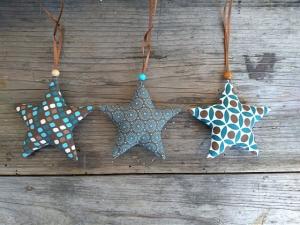 Verkaufe drei mit Liebe genähte Sterne,Stoffsterne, Weihnachten,Stoffanhänger Sterne