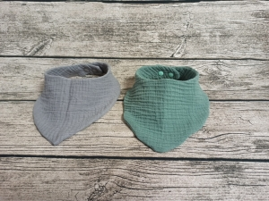 2 er Set Baby Dreiecktuch, Halstuch aus Musselin, Sabbertuch, Lätzchen ab 1Jahr Größe verstellbar - Handarbeit kaufen