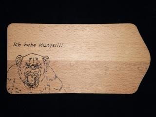 Frühstücksbrettchen mit Brandmalmotiv Affe inklusive Vorname  - Handarbeit kaufen