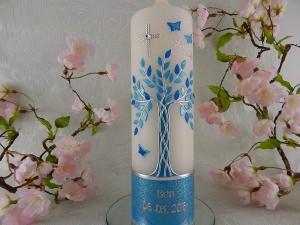Taufkerze Kommunionkerze Lebenbaum blau silber Junge mit Name und Datum