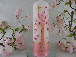 Taufkerze Kommunionkerze Lebensbaum rosa gold für Mädchen mit Name und Datum