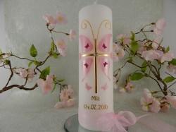 Taufkerze Kommunionkerze Kreuz Schmetterling rosa gold Mädchen mit Name und Datum