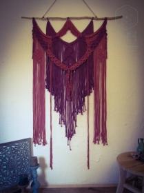 Makramee Wandbehang Rosa Violett groß XL Hippie Boho oientalisch indisch Vintage Retro Baumwollseil Goa Psytrance Festival gemütlich Dekoration Raumtrenner Wohnzimmer