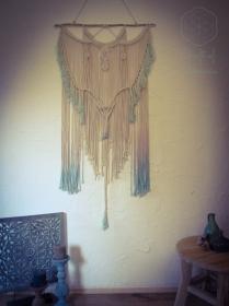 Makramee Wandbehang Zartrosa Türkis Ombre gefärbt Batik groß L orientalisch Boho Hippie indisch Goa Psytrance Festival gemütlich Raumtrenner Dekoration Baumwolle Seil