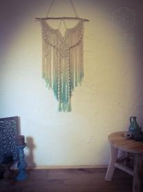 Makramee Wandbehang Türkis Natur Weiß Ombre gefärbt Batik klein S orientalisch Boho Hippie Goa Psytrance Festival gemütlich indisch Dekoration Baumwolle Seil