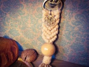 Makramee Schlüsselanhänger Beige Samen des Lebens Blume Des Lebens Holzperle Boho Hippie Psytrance Goa Yoga Spirituell Tasche Accessoires Bronze Baumwollseil Handtasche Anhänger