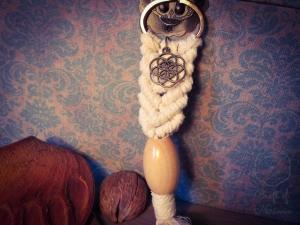 Makramee Schlüsselanhänger Weiß Samen des Lebens Blume Des Lebens Holzperle Boho Hippie Psytrance Goa Yoga Spirituell Tasche Accessoires Bronze Baumwollseil Handtasche Anhänger