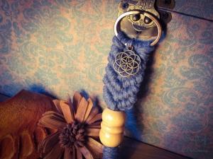 Makramee Schlüsselanhänger Blau Samen des Lebens Blume Des Lebens Holzperle Boho Hippie Psytrance Goa Yoga Spirituell Tasche Accessoires Bronze Baumwollseil Handtasche Anhänger