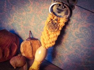 Makramee Schlüsselanhänger Gelb Samen des Lebens Blume Des Lebens Holzperle Boho Hippie Psytrance Goa Yoga Spirituell Tasche Accessoires Bronze Baumwollseil Handtasche Anhänger