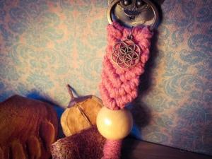 Makramee Schlüsselanhänger Rosa Samen des Lebens Blume Des Lebens Holzperle Boho Hippie Psytrance Goa Yoga Spirituell Tasche Accessoires Bronze Baumwollseil Handtasche Anhänger