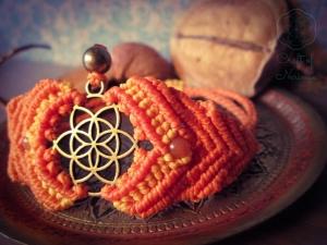 Makramee Chakra Armband Orange Sakralchakra Feueropal Spirituell Yoga Psytrance Hindu Buddha Svadhisthana Mandala Mantra Goa Samen Des Lebens Blume Des Lebens Heilung Regenbogen