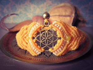 Makramee Chakra Armband Gelb Solarplexuschakra Citrin Quarz Spirituell Yoga Psytrance Hindu Buddha Manipura Mandala Mantra Goa Samen Des Lebens Blume Des Lebens Heilung Regenbogen