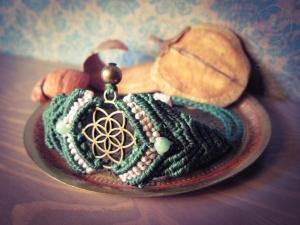 Makramee Chakra Armband Grün Rosa Herzchakra Aventurin Spirituell Yoga Psytrance Hindu Buddha Anahata Mandala Mantra Goa Samen Des Lebens Blume Des Lebens Heilung Regenbogen Hippie