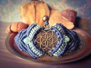 Makramee Chakra Armband Blau Halschakra Aquamarin Spirituell Yoga Psytrance Hindu Buddha Vishuddha Mandala Mantra Goa Samen Des Lebens Blume Des Lebens Heilung Regenbogen Hippie