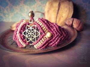 Makramee Chakra Armband Violett Weiß Kronenchakra Magnesit Spirituell Yoga Hindu Buddha Sahasrara Mandala Mantra Goa Psytrance Samen Des Lebens Blume Des Lebens Heilung Regenbogen