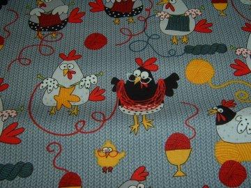 Stricken Huhn Wolle Strickhuhn Wool Baumwolle Patchworkstoff  50x110 cm
