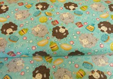 Wäsche Wolle Schafe Stricken Waschen Baumolle Patchworkstoff  50x110 cm