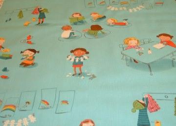 Schule Schulbank Kinder Schulanfang Baumwolle Patchwokstoff  50x110 cm