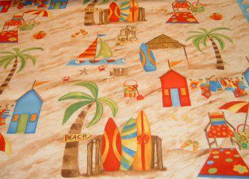 Strandhaus Strand Surfbrett  Urlaub Liegestuhl Sonne Baumwolle  Patchworkstoff 50x110 cm