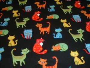 Katzen Cat Katze schwarz bunt   Baumwolle Patchworkstoff Nutex
