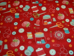 Baumwolle  Nähen  Sew Schere Garn Nadeln Handarbeit  crafty Baumwolle Patchworkstoff rot Projekttasche