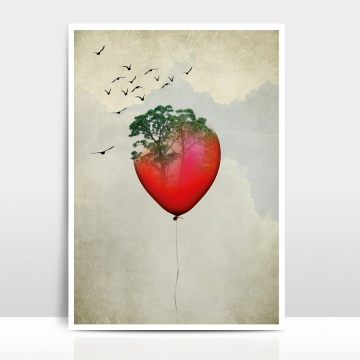 A4 Artprint Red Balloon