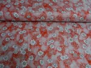 Hochwertiger Leinenstoff in rot-grau marmoriert mit aufgedruckten Edelweißblüten