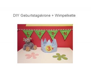 DIY Geburtstagskrone und Wimpelkette  Schnittmuster Ebook   Nähanleitung