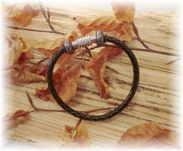 #Thunder# elegantes handgefertigtes Lederarmband mit Hämatitperlen und Edelstahl-Magnetverschluss für Männer und Frauen