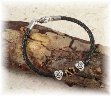 #Xenia# apartes handgemachtes Designer Armband aus geflochtenem Leder und Edelstahl für Damen und Mädchen