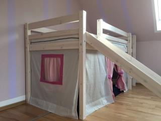 Hochbettvorhang, Spielbettgardine mit Theatereingang Fräulein Storchenbein