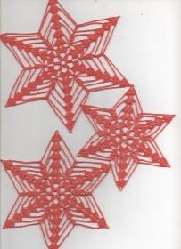 Schneesterne mal anders--hier aus corallefarbenem Polyestergarn als Fenster-oder Baumschmuck-Advent-Weihnachten-Häkelsterne-Häkelarbeit-gehäkelt-Deckchen-Aufhänger-Anhänger(Kopie i