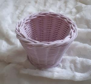Handgeflochtener Korb, rosa, Durchmesser 10 cm  - Handarbeit kaufen