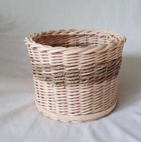 Handgeflochtener Korb aus Peddigrohr und Seegrasband, mittel, Durchmesser ca. 15 cm, ca. 20 cm hoch - Handarbeit kaufen