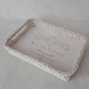 Handgeflochtenes Korbtablett aus Peddigrohr, weiß, eckig, ca.32 x 44 cm