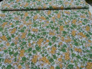 leichter Baumwollstoff weiß mit Blumendruck