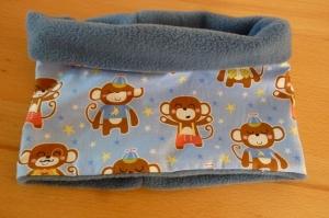 Kinderloop genäht aus Baumwollstoff mit Äffchen in blau kaufen~ Schlauchschal ~ Halssocke ~ Fleece ~ kuschelig - Handarbeit kaufen