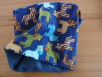 Kinderloop ~ Schlauchschal ~ Halssocke  ~*~ Einen Kinderloop mit Pferdchen aus Baumwolle und Fleece kaufen - Handarbeit kaufen