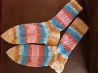 Socken  handgestrickt aus Schurwolle mit Viskose kaufen ~ gestreifte Strümpfe ~ Kuschelsocken ~ ~warme Füße - Handarbeit kaufen