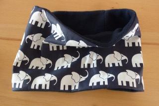 Kinderloop aus Baumwollstoff mit Fleece ~ Elefanten ~ Schal ~ Schlauchschal ~Halssocke