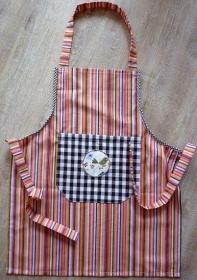 Kinderschürze genäht aus Baumwollstoffen mit bunten Streifen kaufen ~ Backschürze ~ Kochschürze ~ Kaufladenschürze - Handarbeit kaufen
