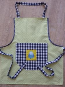 Kinderschürze aus Baumwollstoffen genäht, mit einer Eule kaufen~ Backschürze ~ Kochschürze ~ Kaufladenschürze