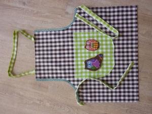 Kinderschürze genäht aus Baumwollstoffen mit zwei Eulen kaufen~ Backschürze ~ Kochschürze ~ Kaufladenschürze