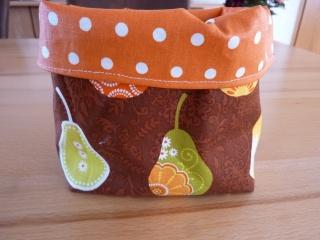 Utensilo aus Baumwollstoff und Wachstuch genäht, mit Birnen kaufen * Obstkorb * Brötchenkorb * Aufbewahrungskorb * Körbchen