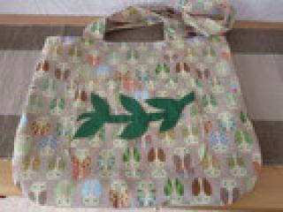 Tasche /Umhängetasche ~*~ Schultertasche aus Baumwollstoffen in beige und grün genäht kaufen ~ Eulen~ Shopper - Handarbeit kaufen